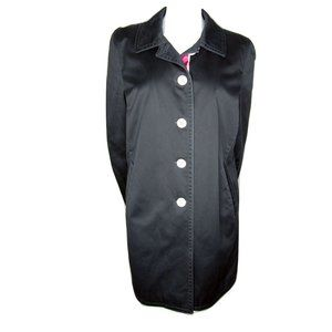 Coach Black Cotton Trench with Kissing C Liner L